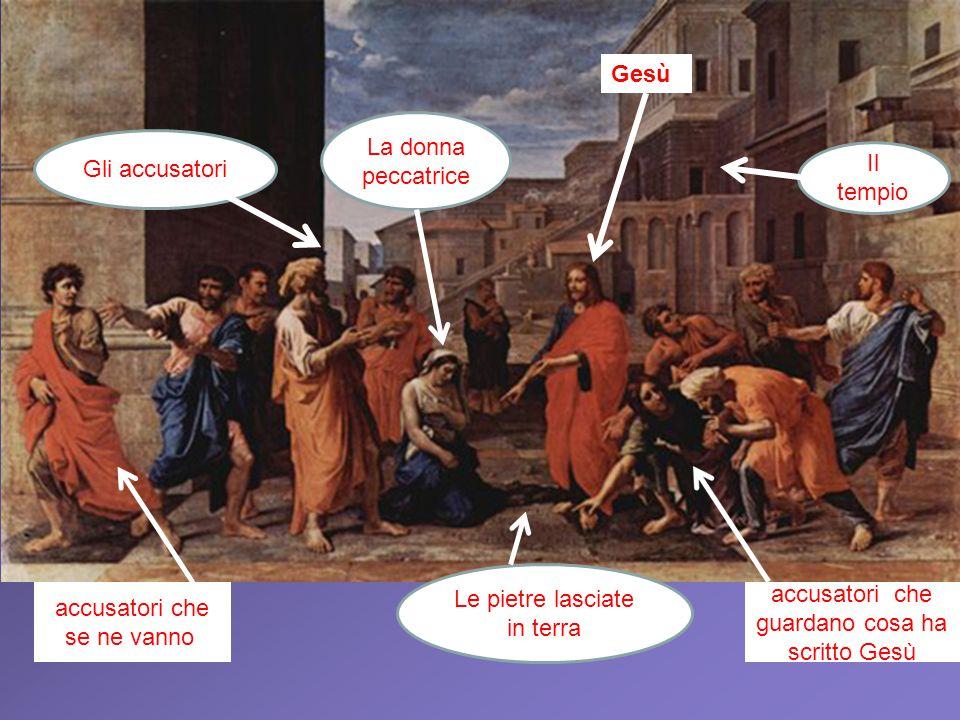 Gesù La donna peccatrice Il tempio Gli accusatori Le pietre lasciate in terra accusatori che se ne vannoi accusatori che guardano cosa ha scritto Gesù
