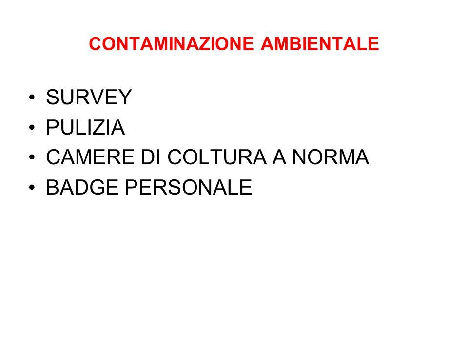 CONTAMINAZIONE AMBIENTALE SURVEY PULIZIA CAMERE DI COLTURA A NORMA BADGE PERSONALE