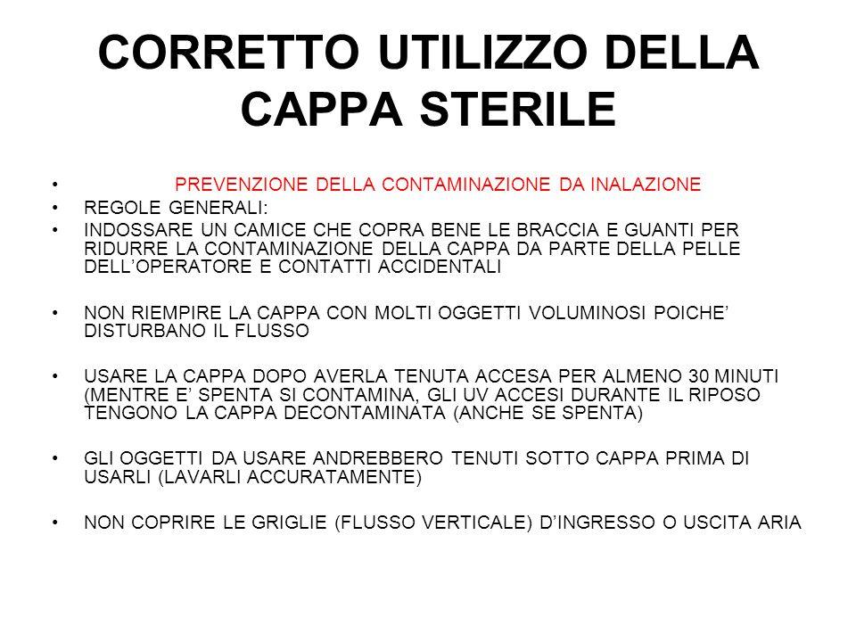 CORRETTO UTILIZZO DELLA CAPPA STERILE PREVENZIONE DELLA CONTAMINAZIONE DA INALAZIONE REGOLE GENERALI: INDOSSARE UN CAMICE CHE COPRA BENE LE BRACCIA E GUANTI PER RIDURRE LA CONTAMINAZIONE DELLA CAPPA DA PARTE DELLA PELLE DELL'OPERATORE E CONTATTI ACCIDENTALI NON RIEMPIRE LA CAPPA CON MOLTI OGGETTI VOLUMINOSI POICHE' DISTURBANO IL FLUSSO USARE LA CAPPA DOPO AVERLA TENUTA ACCESA PER ALMENO 30 MINUTI (MENTRE E' SPENTA SI CONTAMINA, GLI UV ACCESI DURANTE IL RIPOSO TENGONO LA CAPPA DECONTAMINATA (ANCHE SE SPENTA) GLI OGGETTI DA USARE ANDREBBERO TENUTI SOTTO CAPPA PRIMA DI USARLI (LAVARLI ACCURATAMENTE) NON COPRIRE LE GRIGLIE (FLUSSO VERTICALE) D'INGRESSO O USCITA ARIA
