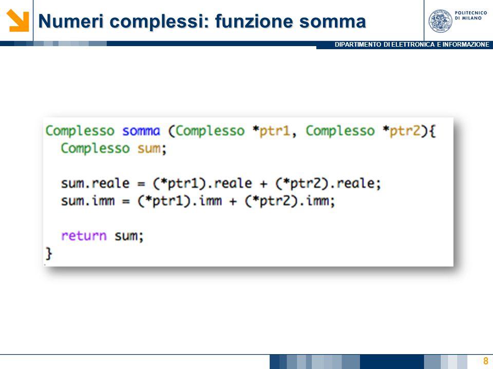 DIPARTIMENTO DI ELETTRONICA E INFORMAZIONE Numeri complessi: funzione somma 8