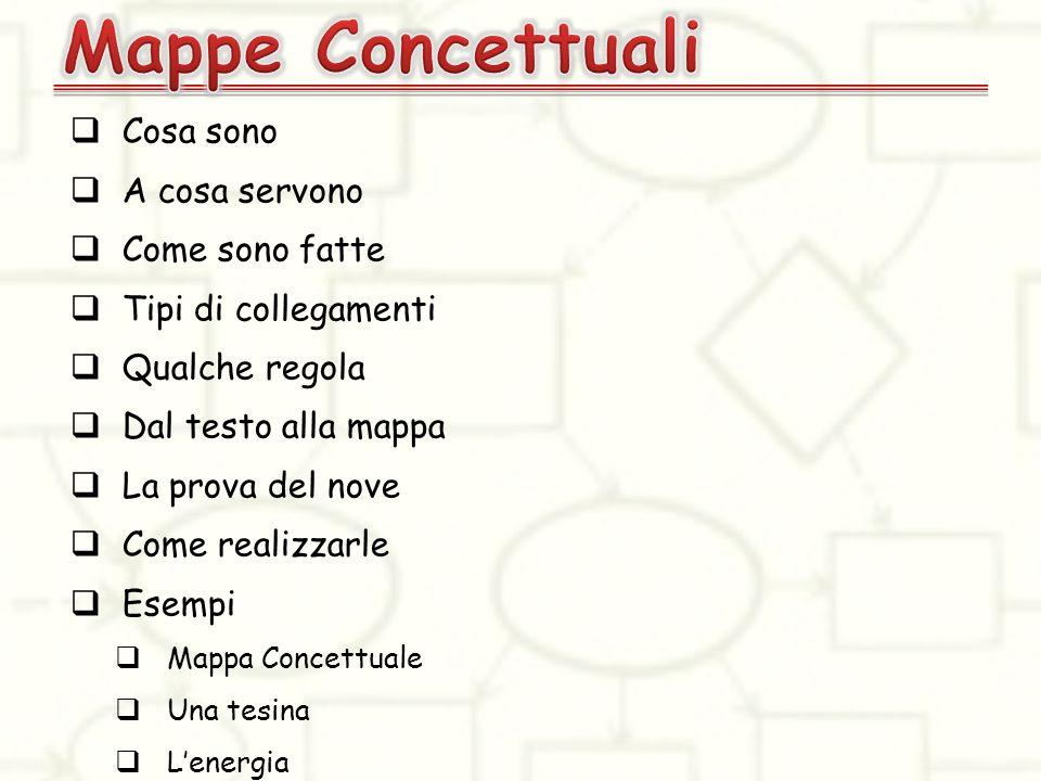 Le Mappe Concettuali sono uno strumento che consente di rappresentare graficamente le nostre conoscenze in modo strutturato ed organizzato.