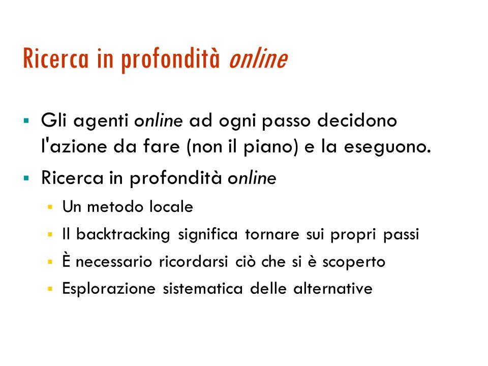 Ricerca in profondità online  Gli agenti online ad ogni passo decidono l azione da fare (non il piano) e la eseguono.