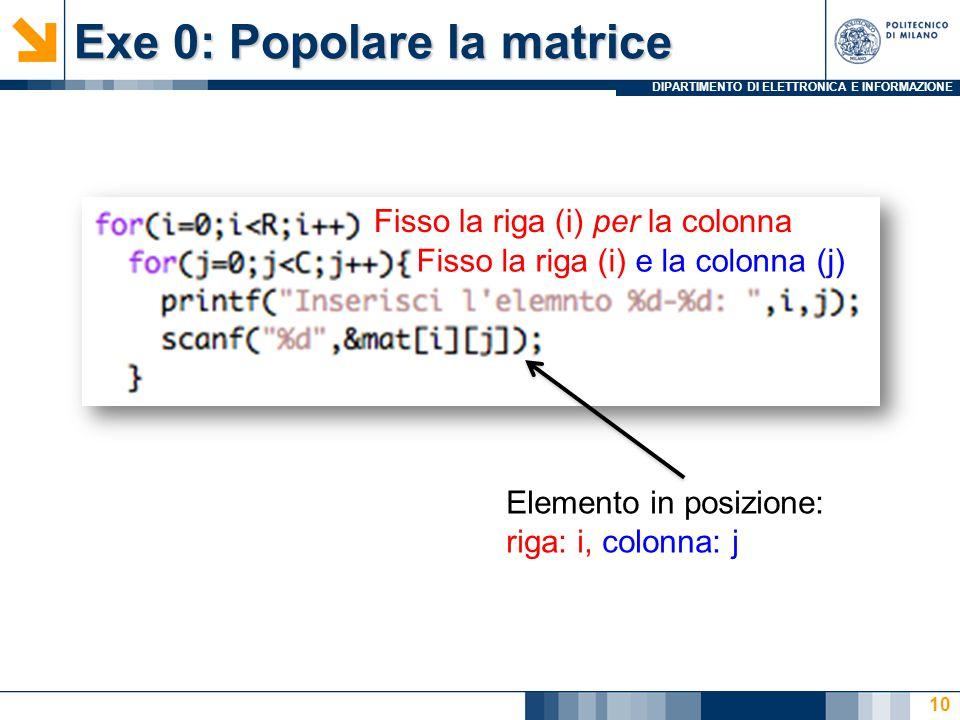 DIPARTIMENTO DI ELETTRONICA E INFORMAZIONE Exe 0: Popolare la matrice 10 Fisso la riga (i) per la colonna Fisso la riga (i) e la colonna (j) Elemento in posizione: riga: i, colonna: j