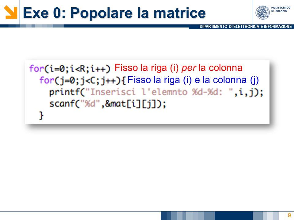 DIPARTIMENTO DI ELETTRONICA E INFORMAZIONE Exe 0: Popolare la matrice 9 Fisso la riga (i) per la colonna Fisso la riga (i) e la colonna (j)