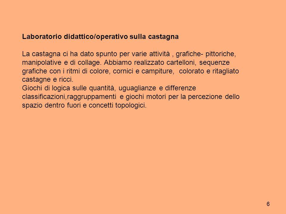 6 Laboratorio didattico/operativo sulla castagna La castagna ci ha dato spunto per varie attività, grafiche- pittoriche, manipolative e di collage. Ab