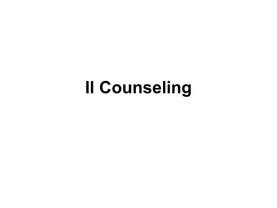 La «vecchia» concezione del counseling: l'orientamento al lavoro (nel senso di trovare la giusta collocazione professionale di un soggetto date certe sue «attitudini») La nuova concezione del counseling: Carl Rogers, Rollo May (primi anni '40)