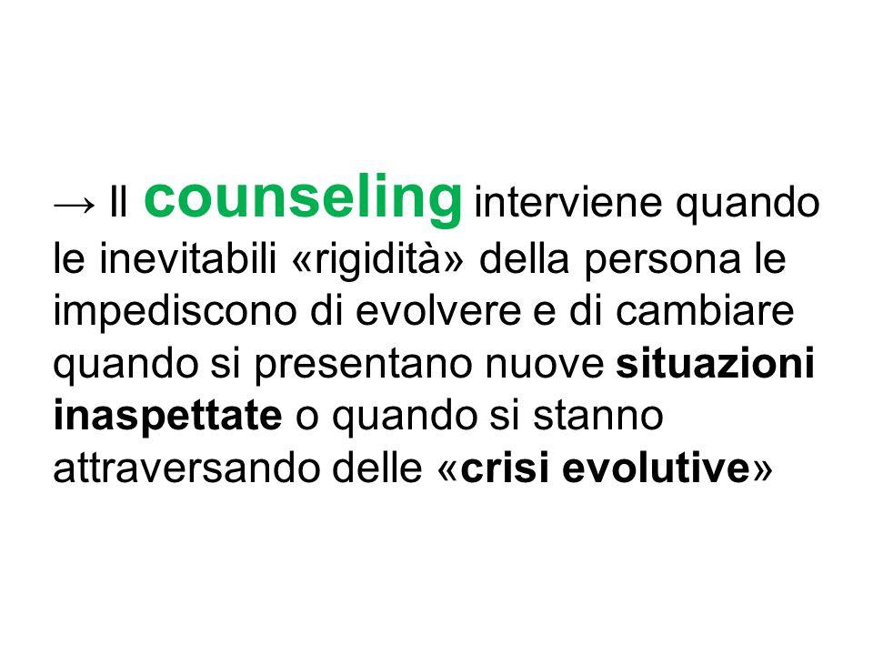 → Il counseling interviene quando le inevitabili «rigidità» della persona le impediscono di evolvere e di cambiare quando si presentano nuove situazio