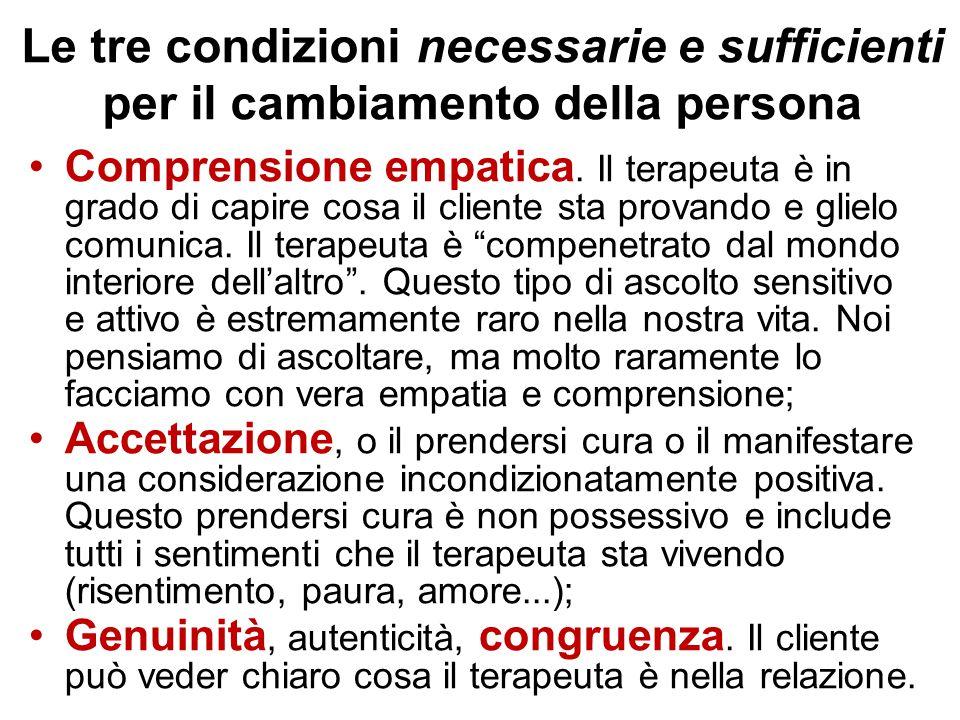 Le tre condizioni necessarie e sufficienti per il cambiamento della persona Comprensione empatica. Il terapeuta è in grado di capire cosa il cliente s