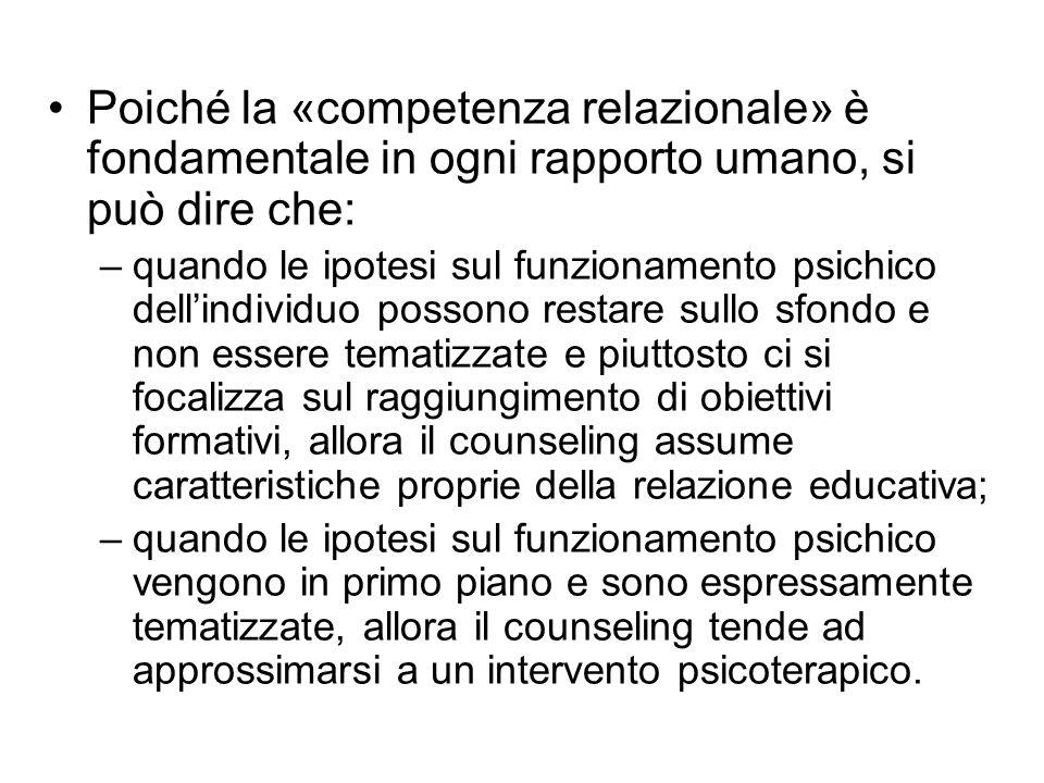 Poiché la «competenza relazionale» è fondamentale in ogni rapporto umano, si può dire che: –quando le ipotesi sul funzionamento psichico dell'individu