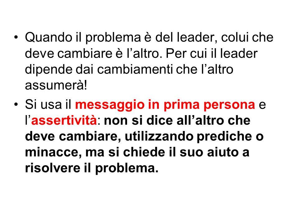 Quando il problema è del leader, colui che deve cambiare è l'altro. Per cui il leader dipende dai cambiamenti che l'altro assumerà! Si usa il messaggi