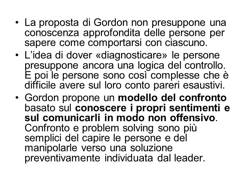 La proposta di Gordon non presuppone una conoscenza approfondita delle persone per sapere come comportarsi con ciascuno. L'idea di dover «diagnosticar