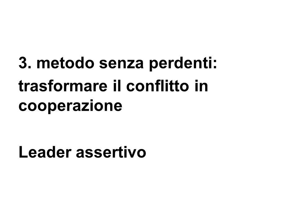 3. metodo senza perdenti: trasformare il conflitto in cooperazione Leader assertivo
