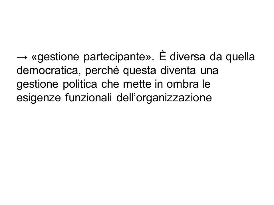 → «gestione partecipante». È diversa da quella democratica, perché questa diventa una gestione politica che mette in ombra le esigenze funzionali dell