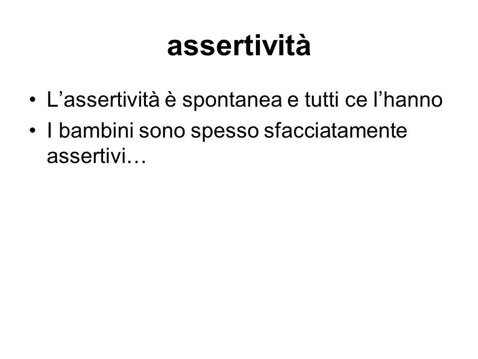 assertività L'assertività è spontanea e tutti ce l'hanno I bambini sono spesso sfacciatamente assertivi…