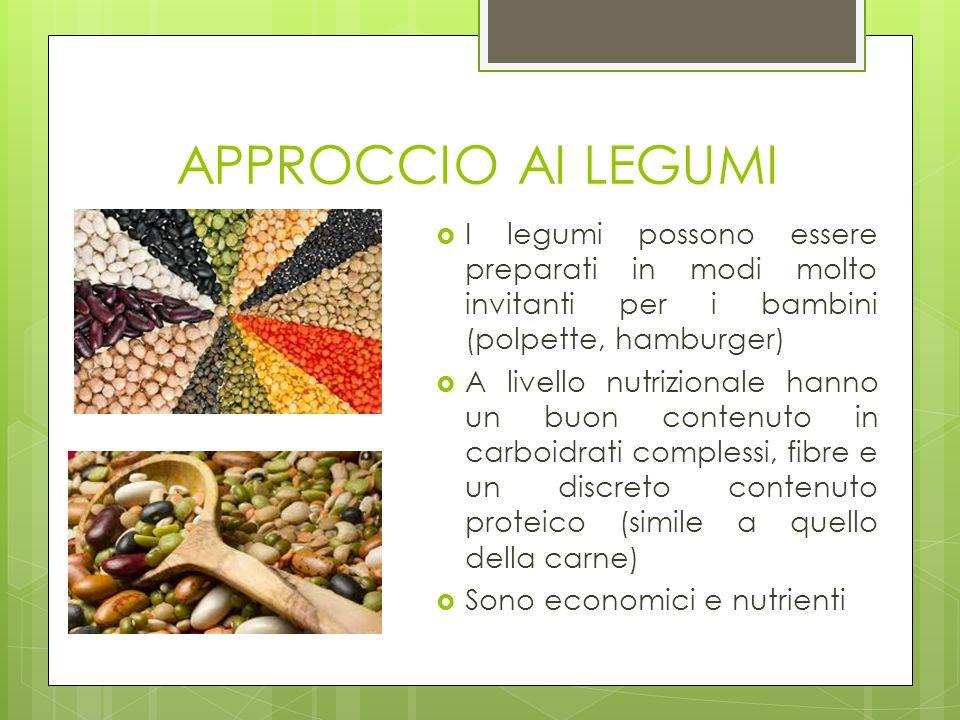 APPROCCIO AI LEGUMI  I legumi possono essere preparati in modi molto invitanti per i bambini (polpette, hamburger)  A livello nutrizionale hanno un