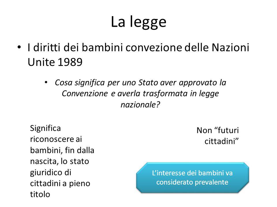La legge I diritti dei bambini convezione delle Nazioni Unite 1989 Cosa significa per uno Stato aver approvato la Convenzione e averla trasformata in legge nazionale.