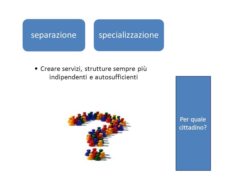 separazione specializzazione Creare servizi, strutture sempre più indipendenti e autosufficienti Per quale cittadino?