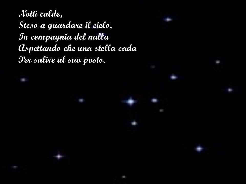 Notti calde, Steso a guardare il cielo, In compagnia del nulla Aspettando che una stella cada Per salire al suo posto.