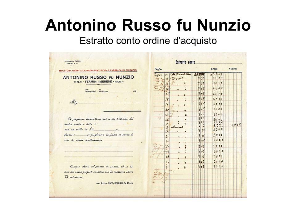 Antonino Russo fu Nunzio Estratto conto ordine d'acquisto