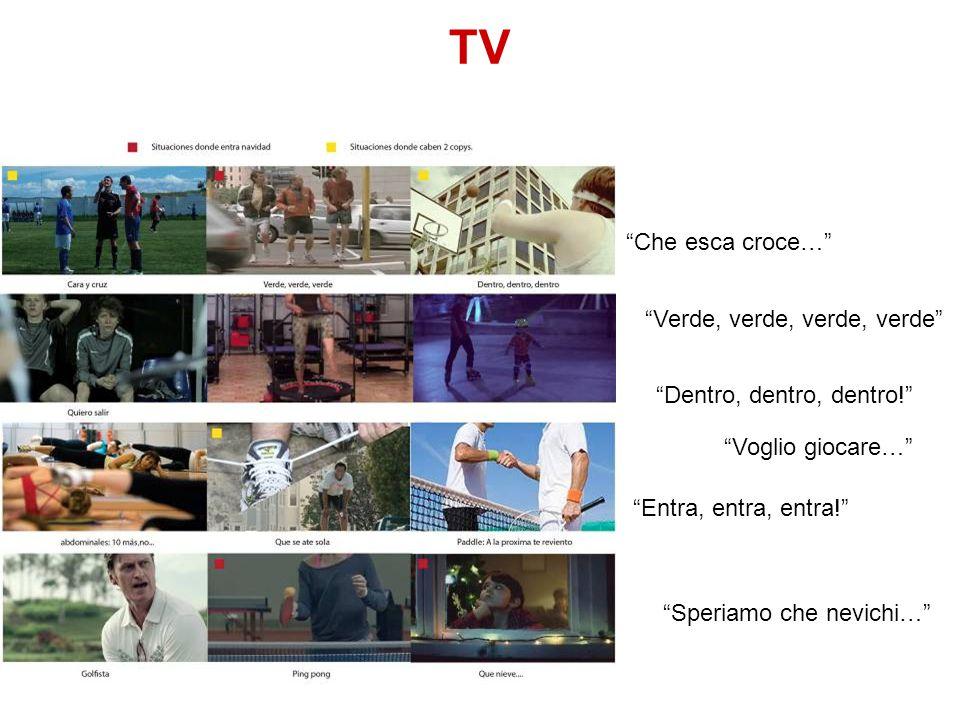 """TV """"Che esca croce…"""" """"Voglio giocare…"""" """"Verde, verde, verde, verde"""" """"Speriamo che nevichi…"""" """"Entra, entra, entra!"""" """"Dentro, dentro, dentro!"""""""