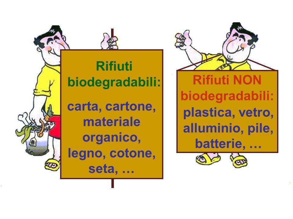 carta, cartone, materiale organico, legno, cotone, seta, … Rifiuti NON biodegradabili: Rifiuti biodegradabili: plastica, vetro, alluminio, pile, batte