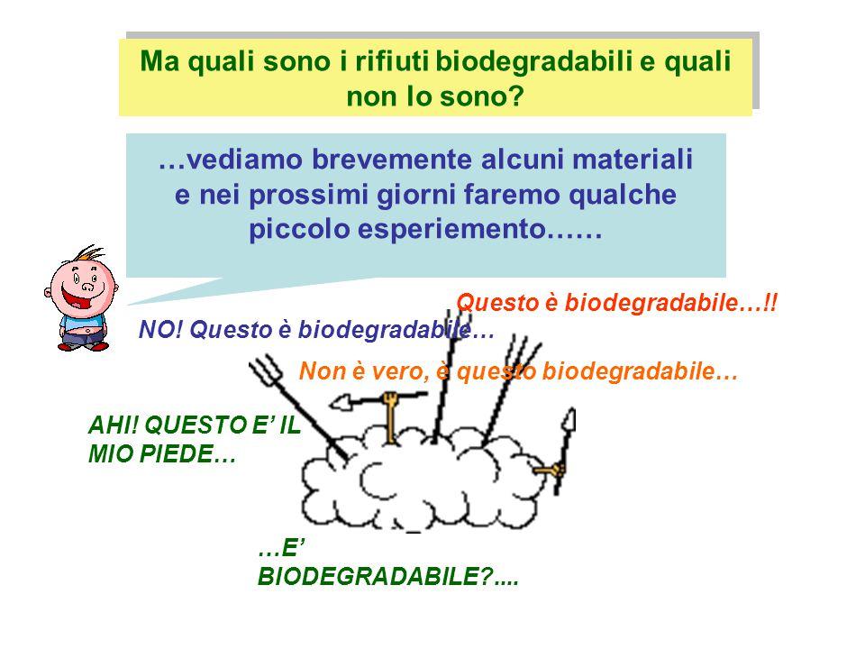 carta, cartone, materiale organico, legno, cotone, seta, … Rifiuti NON biodegradabili: Rifiuti biodegradabili: plastica, vetro, alluminio, pile, batterie, …