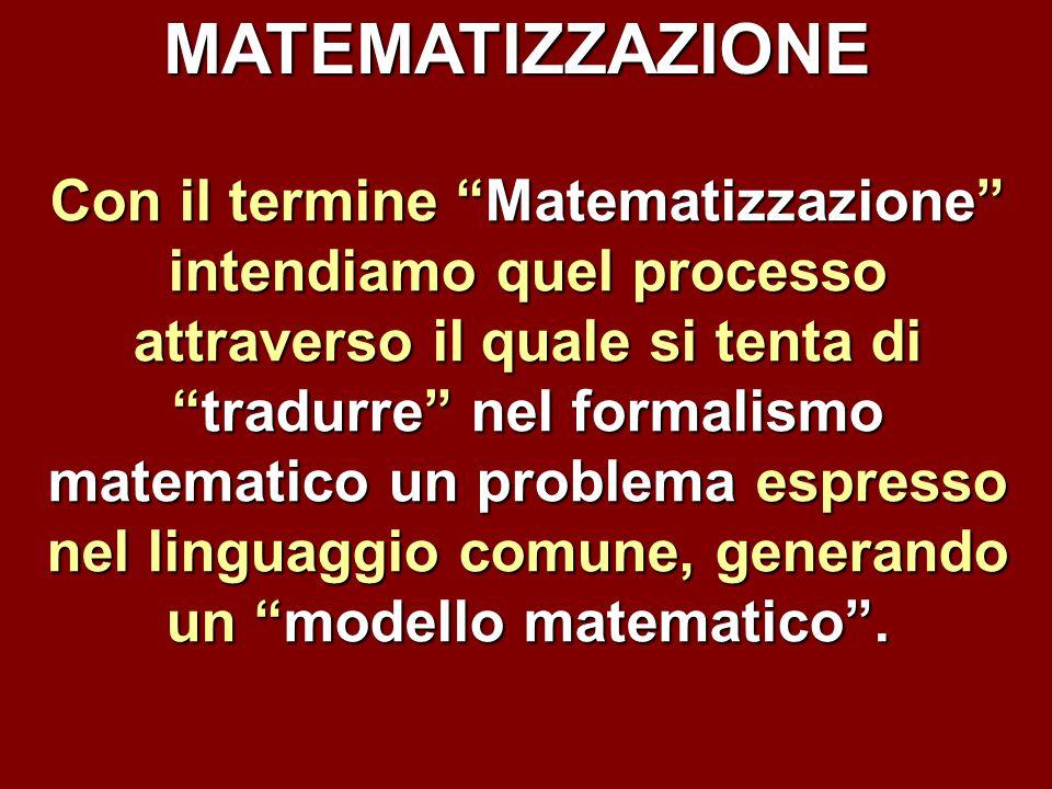 """MATEMATIZZAZIONE Con il termine """"Matematizzazione"""" intendiamo quel processo attraverso il quale si tenta di """"tradurre"""" nel formalismo matematico un pr"""