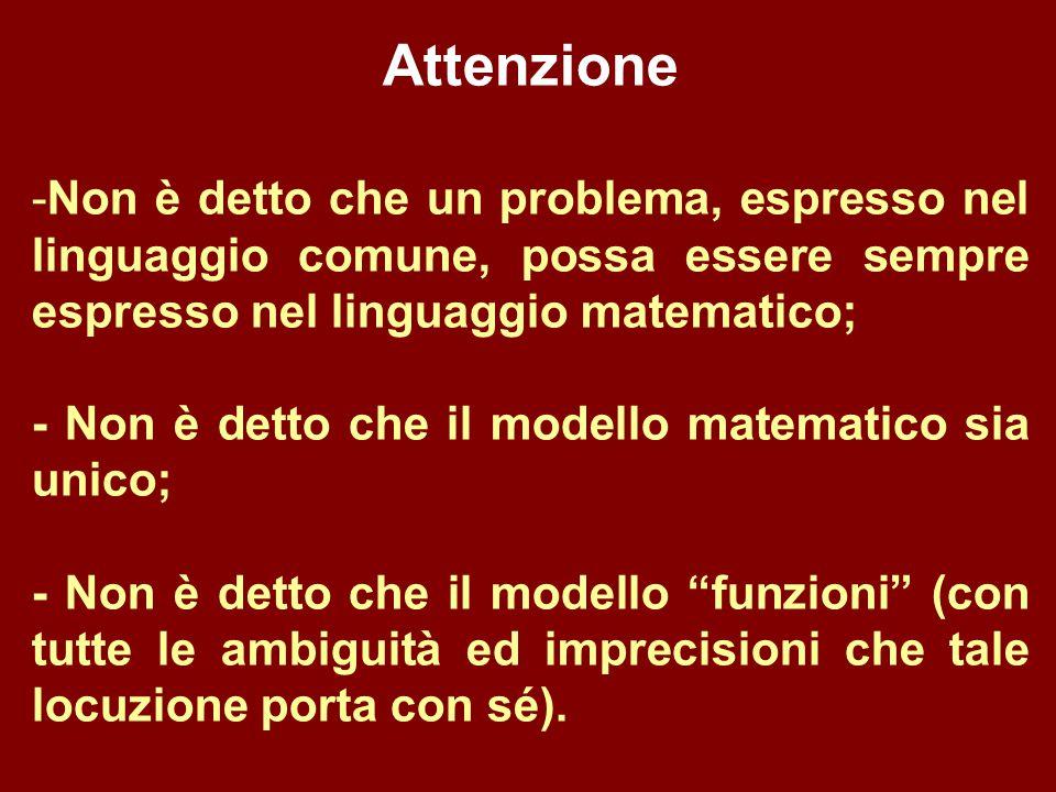 Attenzione -Non è detto che un problema, espresso nel linguaggio comune, possa essere sempre espresso nel linguaggio matematico; - Non è detto che il