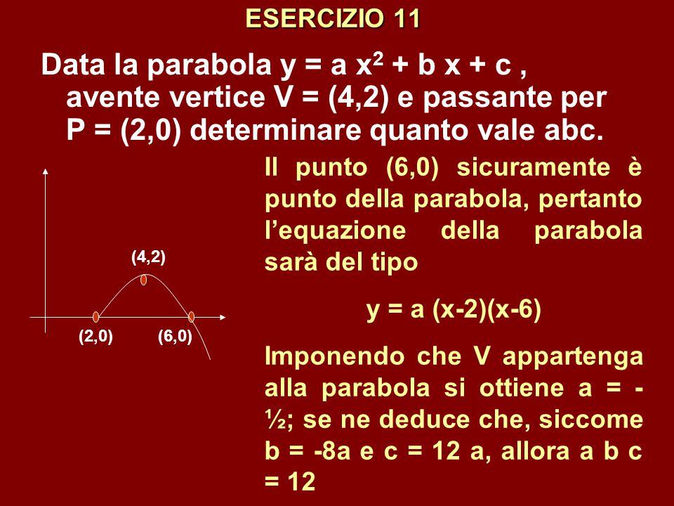 ESERCIZIO 11 Data la parabola y = a x 2 + b x + c, avente vertice V = (4,2) e passante per P = (2,0) determinare quanto vale abc. (2,0)(6,0) (4,2) Il