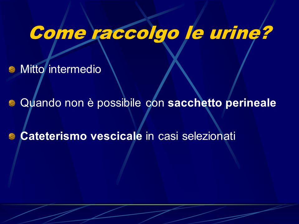 Come raccolgo le urine? Mitto intermedio Quando non è possibile con sacchetto perineale Cateterismo vescicale in casi selezionati