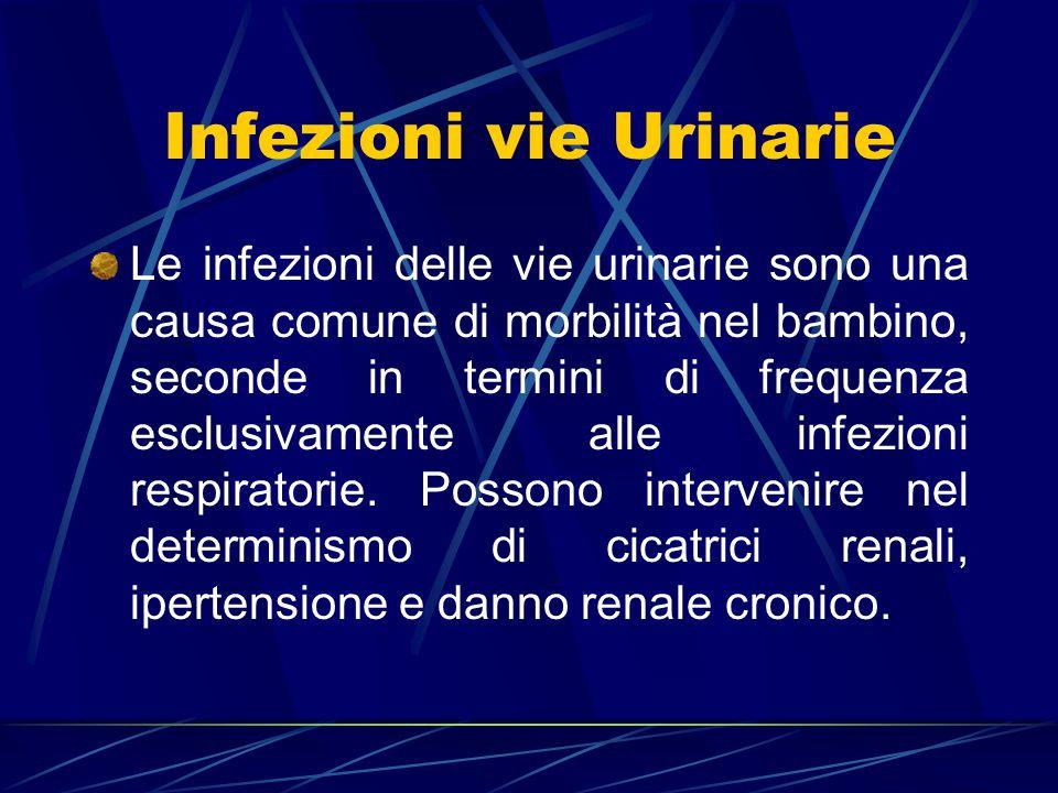 Infezioni vie Urinarie Le infezioni delle vie urinarie sono una causa comune di morbilità nel bambino, seconde in termini di frequenza esclusivamente
