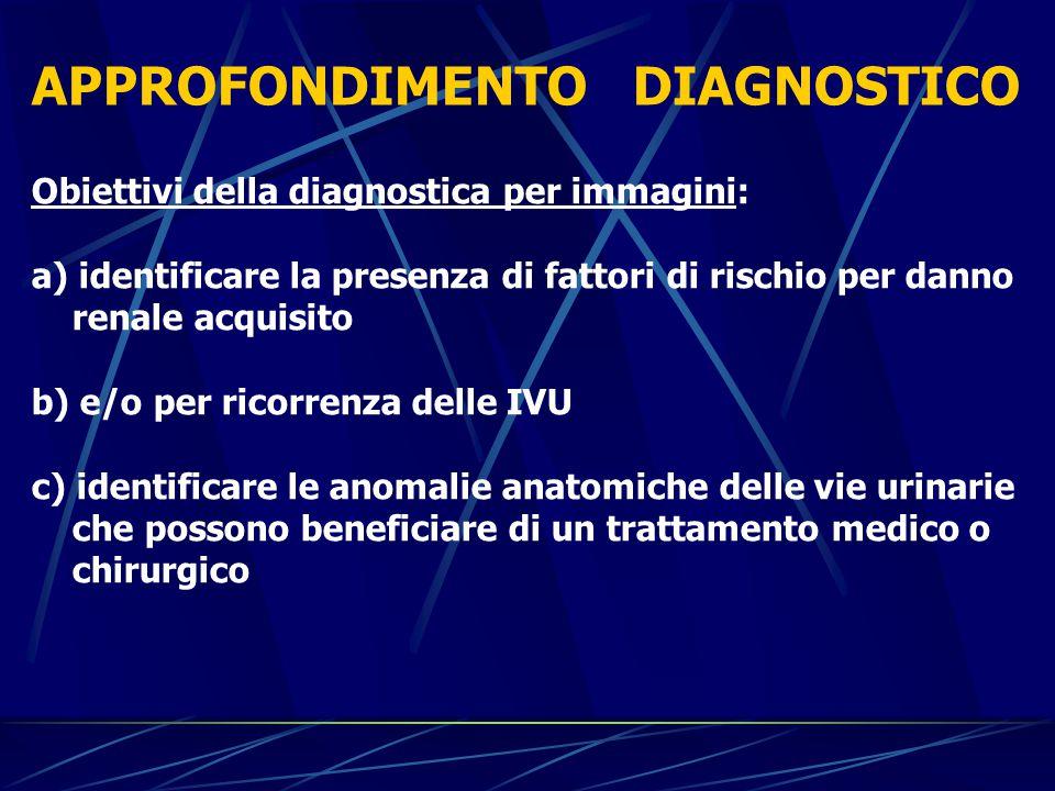 APPROFONDIMENTO DIAGNOSTICO Obiettivi della diagnostica per immagini: a) identificare la presenza di fattori di rischio per danno renale acquisito b)