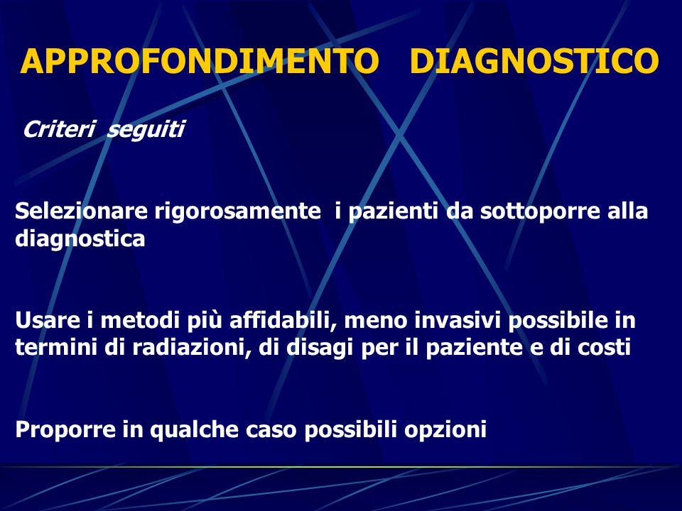 Criteri seguiti Selezionare rigorosamente i pazienti da sottoporre alla diagnostica Usare i metodi più affidabili, meno invasivi possibile in termini