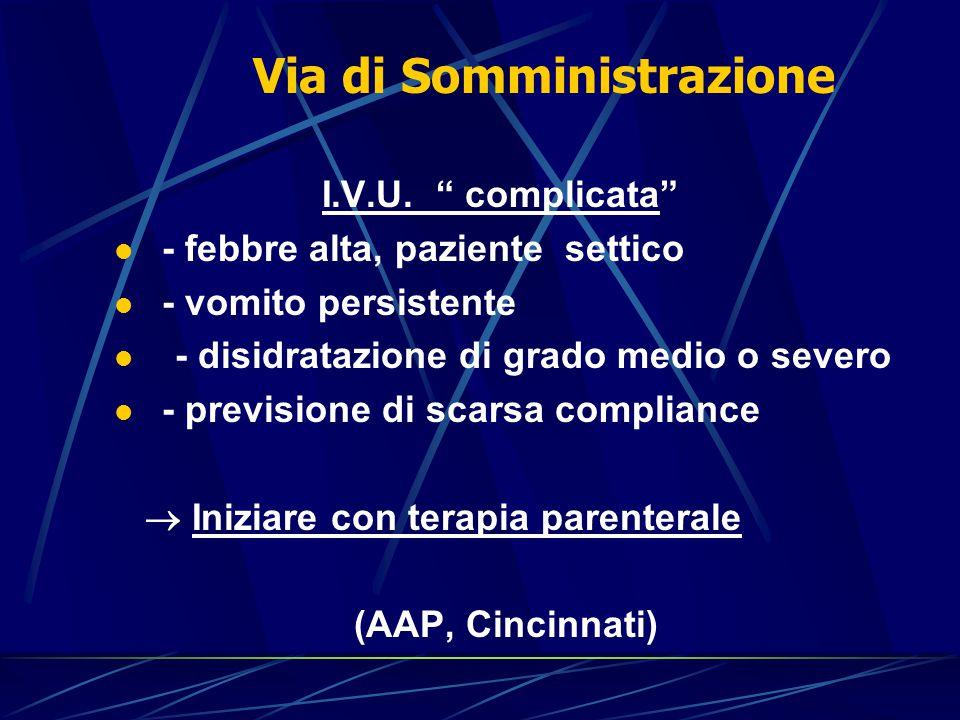"""I.V.U. """" complicata"""" - febbre alta, paziente settico - vomito persistente - disidratazione di grado medio o severo - previsione di scarsa compliance """