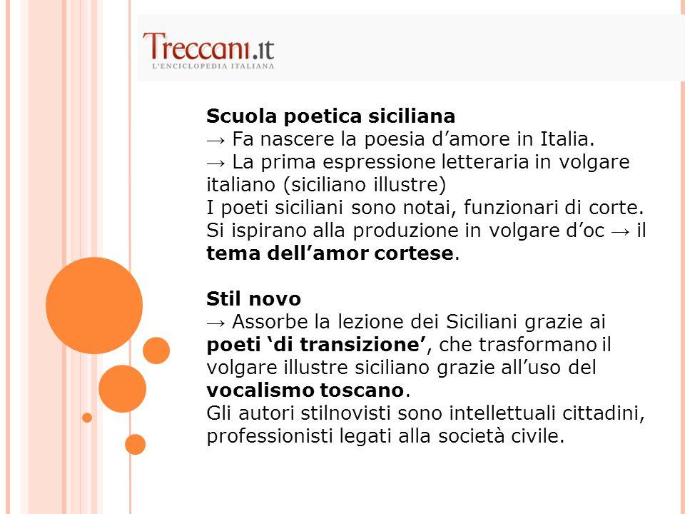 Scuola poetica siciliana → Fa nascere la poesia d'amore in Italia. → La prima espressione letteraria in volgare italiano (siciliano illustre) I poeti