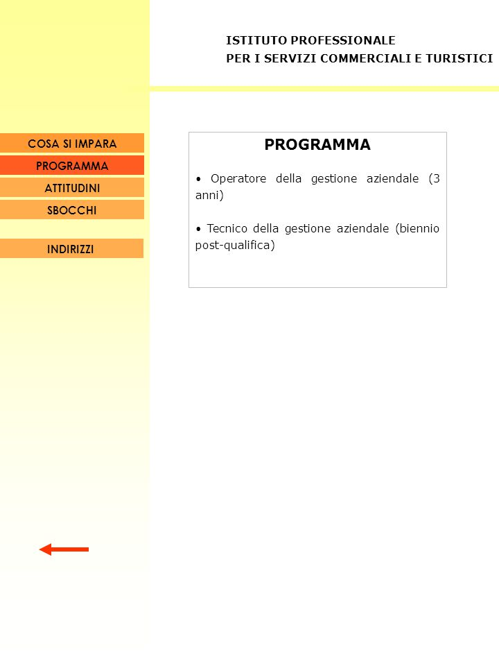 PROGRAMMA Operatore della gestione aziendale (3 anni) Tecnico della gestione aziendale (biennio post-qualifica) INDIRIZZI COSA SI IMPARA SBOCCHI ATTIT