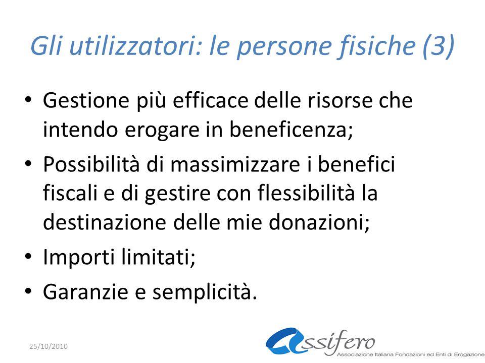 Gli utilizzatori: le persone fisiche (3) Gestione più efficace delle risorse che intendo erogare in beneficenza; Possibilità di massimizzare i benefici fiscali e di gestire con flessibilità la destinazione delle mie donazioni; Importi limitati; Garanzie e semplicità.