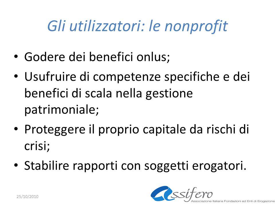 Gli utilizzatori: le nonprofit Godere dei benefici onlus; Usufruire di competenze specifiche e dei benefici di scala nella gestione patrimoniale; Prot