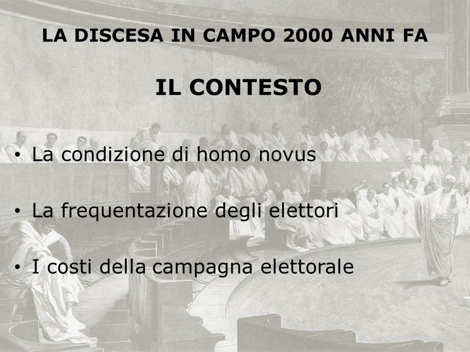 La condizione di homo novus La frequentazione degli elettori I costi della campagna elettorale LA DISCESA IN CAMPO 2000 ANNI FA IL CONTESTO