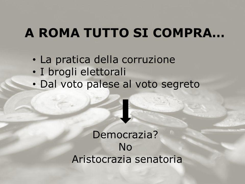 A ROMA TUTTO SI COMPRA… La pratica della corruzione I brogli elettorali Dal voto palese al voto segreto Democrazia.