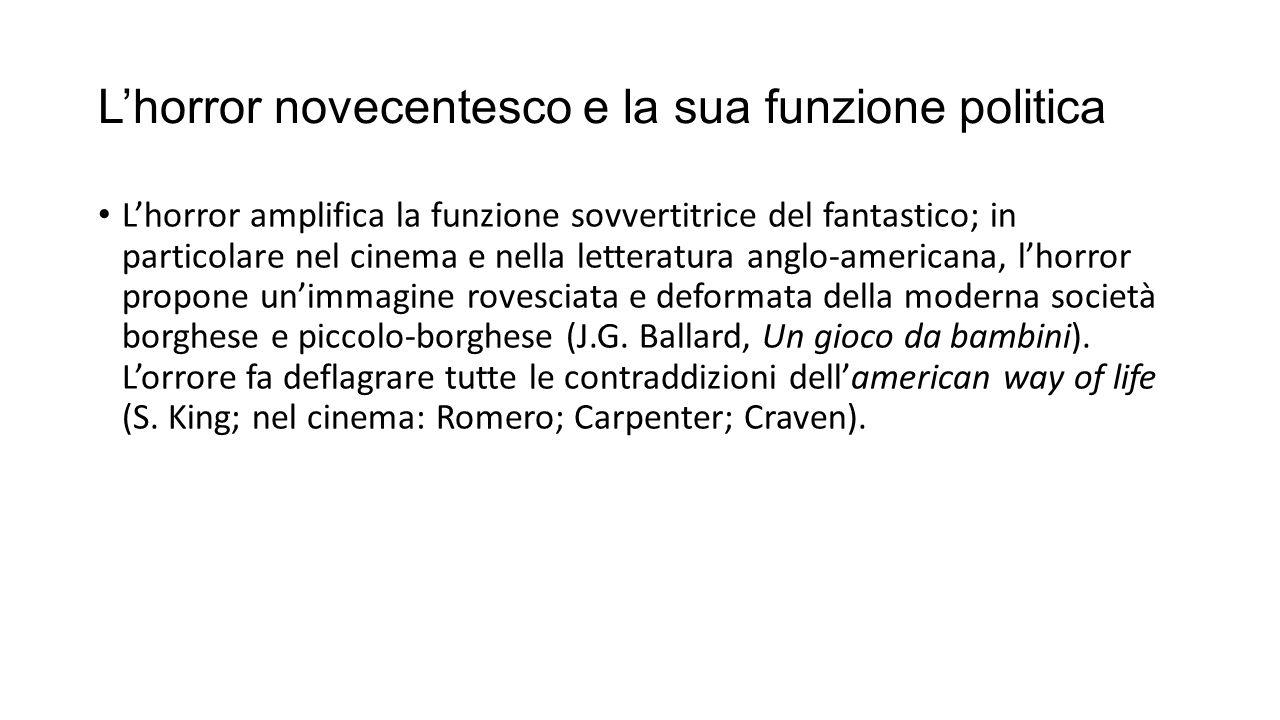 L'horror novecentesco e la sua funzione politica L'horror amplifica la funzione sovvertitrice del fantastico; in particolare nel cinema e nella letter