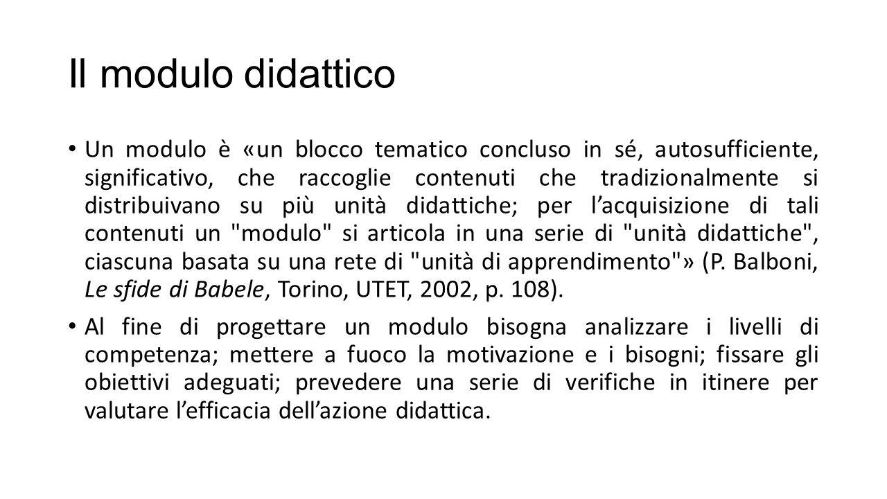 Il modulo didattico Un modulo è «un blocco tematico concluso in sé, autosufficiente, significativo, che raccoglie contenuti che tradizionalmente si di