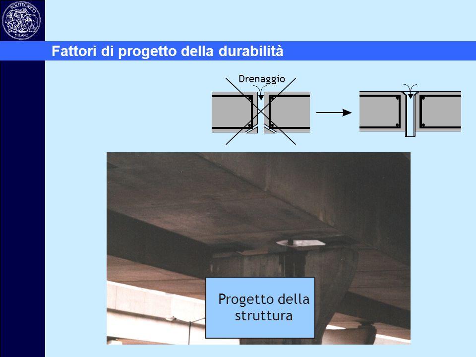 Drenaggio Fattori di progetto della durabilità Progetto della struttura
