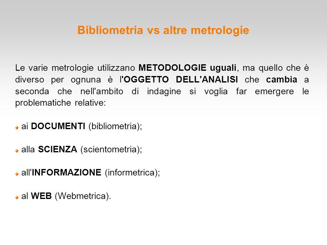 Bibliometria vs altre metrologie Le varie metrologie utilizzano METODOLOGIE uguali, ma quello che è diverso per ognuna è l'OGGETTO DELL'ANALISI che ca