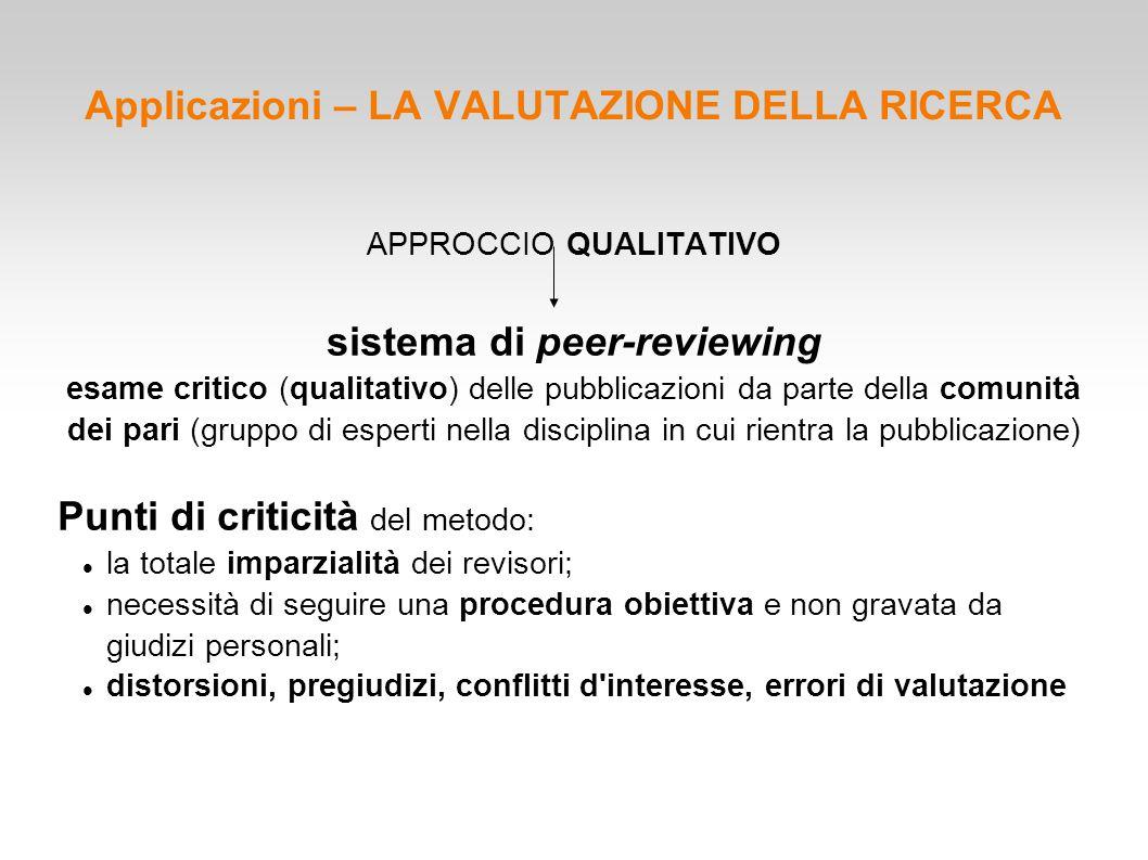 Applicazioni – LA VALUTAZIONE DELLA RICERCA APPROCCIO QUALITATIVO sistema di peer-reviewing esame critico (qualitativo) delle pubblicazioni da parte d