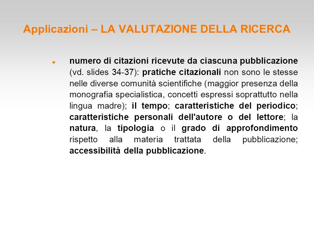 Applicazioni – LA VALUTAZIONE DELLA RICERCA  numero di citazioni ricevute da ciascuna pubblicazione (vd. slides 34-37): pratiche citazionali non sono