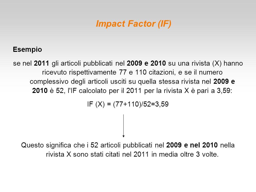 Impact Factor (IF) Esempio se nel 2011 gli articoli pubblicati nel 2009 e 2010 su una rivista (X) hanno ricevuto rispettivamente 77 e 110 citazioni, e