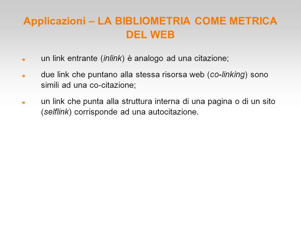 Applicazioni – LA BIBLIOMETRIA COME METRICA DEL WEB  un link entrante (inlink) è analogo ad una citazione;  due link che puntano alla stessa risorsa
