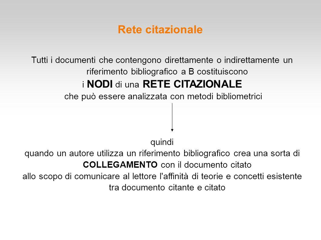 Tutti i documenti che contengono direttamente o indirettamente un riferimento bibliografico a B costituiscono i NODI di una RETE CITAZIONALE che può e