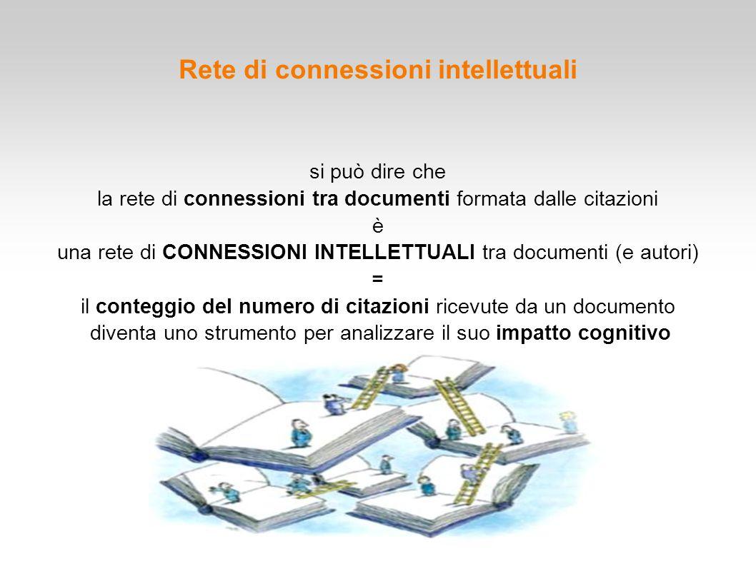 Rete di connessioni intellettuali si può dire che la rete di connessioni tra documenti formata dalle citazioni è una rete di CONNESSIONI INTELLETTUALI